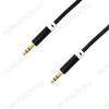 Шнур (OT-AVC29) 3.5 шт стерео/3.5 шт стерео 1.5м черный тонкий штекер, тканевая оплетка, в коробке