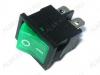 Сетевой выключатель RWB-207 (SWR-45)  зеленый с подсветкой 19,2*13,3mm; 6A/250V; 4 pin