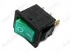 Сетевой выключатель RWB-206 (SWR-41) зеленый с подсветкой 19,5*13,2mm; 6A/250V; 3 pin
