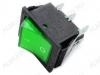 Сетевой выключатель RWB-506 (SC-767) зеленый широкий с подсветкой 27,8*21,8mm; 15A/250V; 6 pin