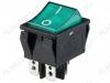 Сетевой выключатель RWB-513 (SC-767) зеленый широкий с подсветкой 29,5*22,2mm; 15A/250V; 4 pin