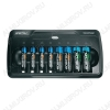 Зарядное устройство VOLUMECHARGER для 1-8шт NiCd,NiMh R03/AAA (300mA), R6/AA (500mA); микропроцесс. обработка; функция разряда; питание 220V + прикуриватель 12V