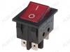Сетевой выключатель RWB-514 (SC-767) красный широкий с подсветкой 29,5*22,2mm; 15A/250V; 6 pin