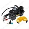 Автокомпрессор 110 двухпоршневой 12V,14A; давление 15атм; шнур 3.0м; производительность 55л/мин; длина шланга 6м; 3 насадки; время непр. раб-15 мин.