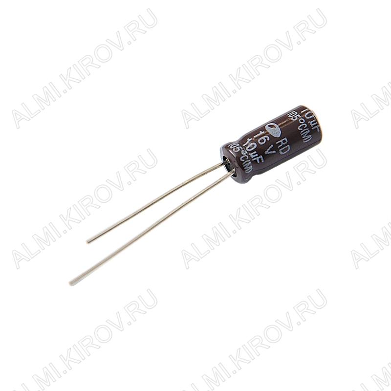 Конденсатор электролитический   10мкФ 16В 0511 +105°C