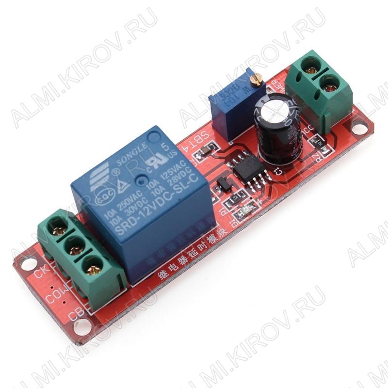 Модуль Реле, 1-канальное 12В с таймером, реле SDR-12VDC-SL-C с микросхемой NE555