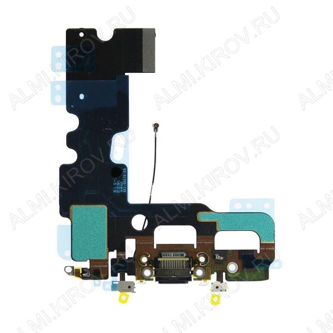 Шлейф для iPhone 7 + разъем зарядки + микрофон черный