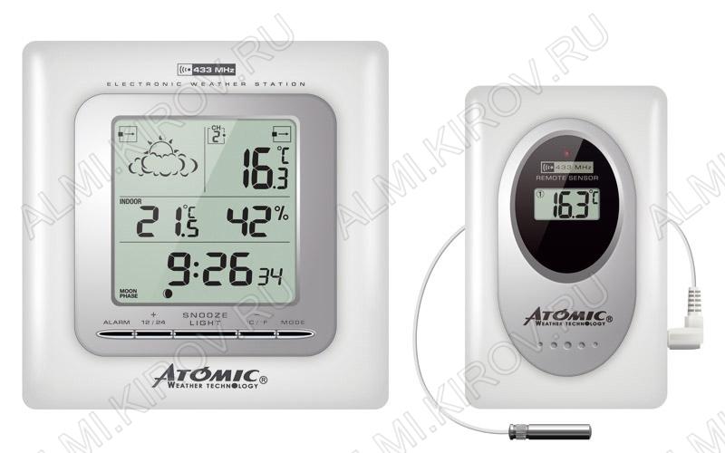 Метеостанция Atomic W739009-White Измерение: наружной и внутр. температуры; внутр. влажности, календарь, часы, прогноз погоды на 24ч; питание 2хR6 радиодатчика 2хR3