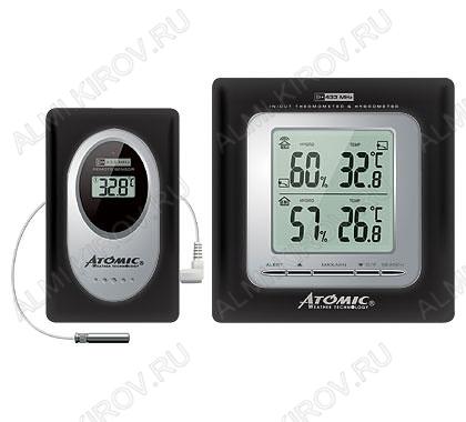 Метеостанция Atomic W239009 Black Измерение: наружной и внутр. температуры и влажности; питание 2хR6 радиодатчика 2хR3
