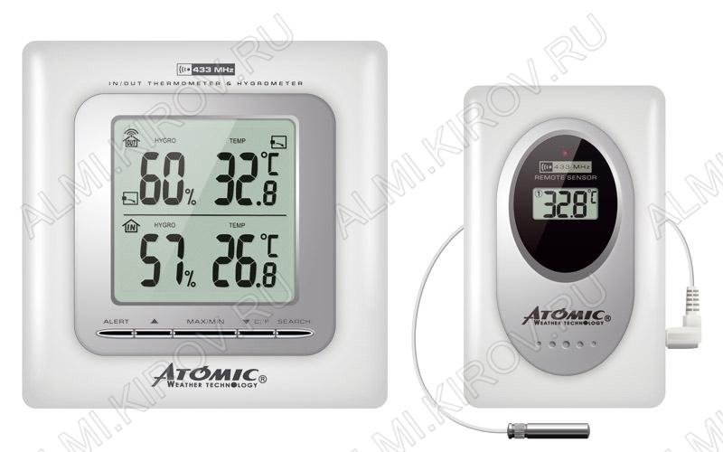 Метеостанция Atomic W239009 White Измерение: наружной и внутр. температуры и влажности; питание 2хR6 радиодатчика 2хR3