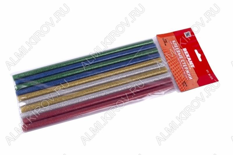 Термоклей d=11мм цветной с блестками (набор 10шт) (09-1215) длина 270мм