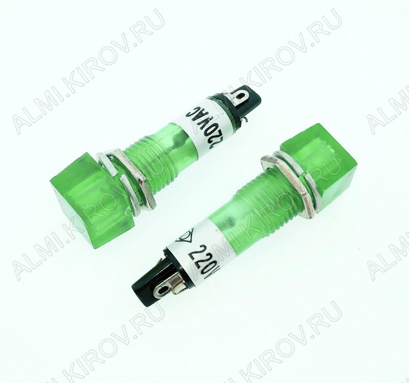 Лампа индикаторная 220V RWE-201 зеленая, d=10.2mm