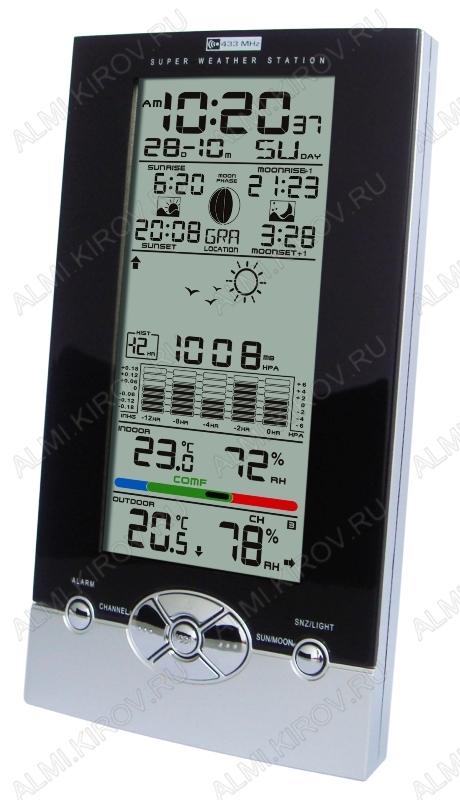 Метеостанция MC-106 с внешним радиодатчиком Измерение наружной и внутр. температуры, внутр. влажности, атм. давл., календарь, часы, прогноз погоды; питание 3хR6 радиодатчика 2хR3(гарантия 6 меся