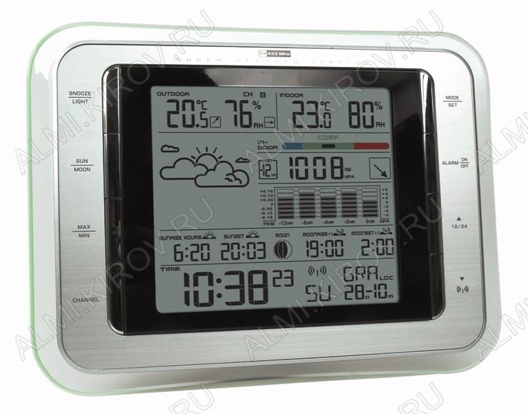Метеостанция MC-111 с внешним радиодатчиком Измерение наружной и внутренней температуры, внутренней влажности, атмосферное давление, календарь, часы, прогноз погоды; (гарантия 6 месяцев)