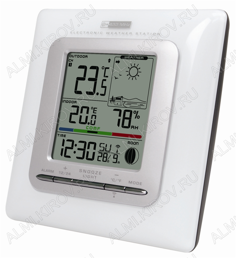 Метеостанция MC-109 c внешним радиодатчиком Измерение наружной и внутренней температуры, внутренней влажности, календарь, часы; питание 2хR6 радиодатчика 2хR3 (гарантия 6 месяцев)