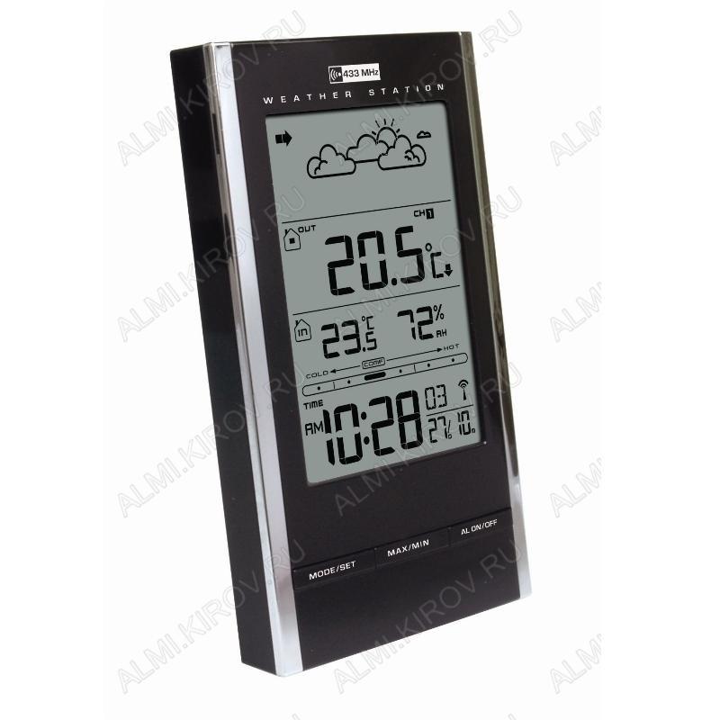 Метеостанция MC-184 BLACK Измерение: наружной и внутренней температуры, внутренней влажности, календарь, часы, прогноз погоды; питание 2хR6 радиодатчика 2хR3 (гарантия 6 месяце