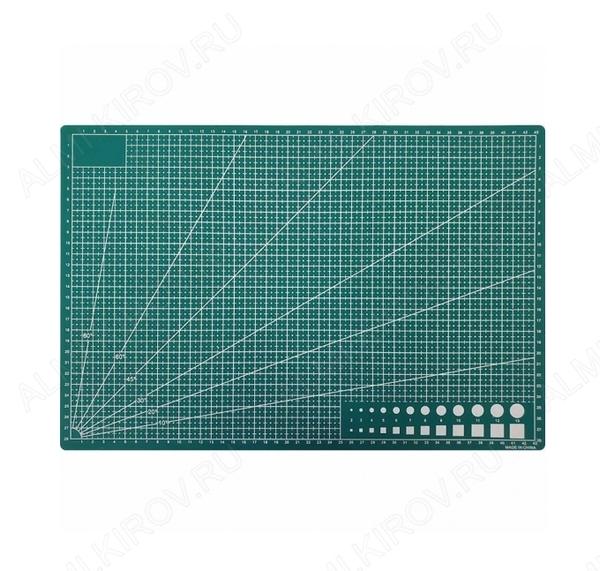 Коврик защитный для резки А3 размеры: 430х300х2мм; двусторонний, непрорезаемый; самовосстанавливающийся; с нанесённой измерительной шкалой.