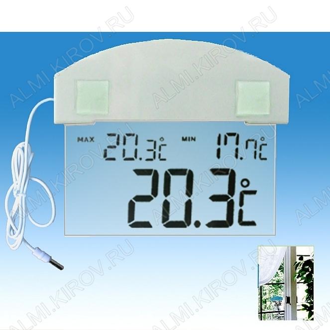 Термометр цифровой TM1008BR Измерение наружной температуры, часы; (гарантия 6 месяцев)