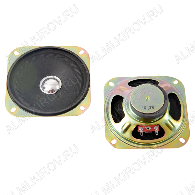 Динамик d=100mm, h=35mm; YD100-10RU45; 4R; 3W/5W; 130-12500 Hz уши; для радиоприемников