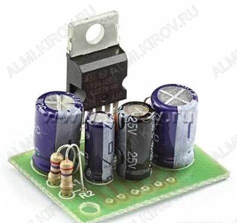 Радиоконструктор Усилитель 1х10Вт RS213 (на TDA2003) Номинальное напряжение питания: 8...16 В; Диапазон воспроизводимых частот: 40...15 000 Гц; PВЫХ = 6 Вт, RН = 4 Ом; PВЫХ = 10 Вт, RН = 2 Ом.