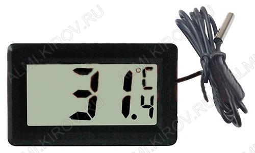 Термометр цифровой 70-0501 врезной Измерение температуры от -50 до +120°С; выносной датчик 1.0м Питание от 1xG13(в комплекте)
