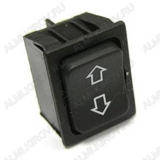 Сетевой выключатель RWB-515 (RS-223-4C) (ON)-OFF-(ON) черный широкий без фиксации с нейтралью 28,8*21,8mm; 15A/250V; 6 pin; маркировка: стрелки вперед-назад
