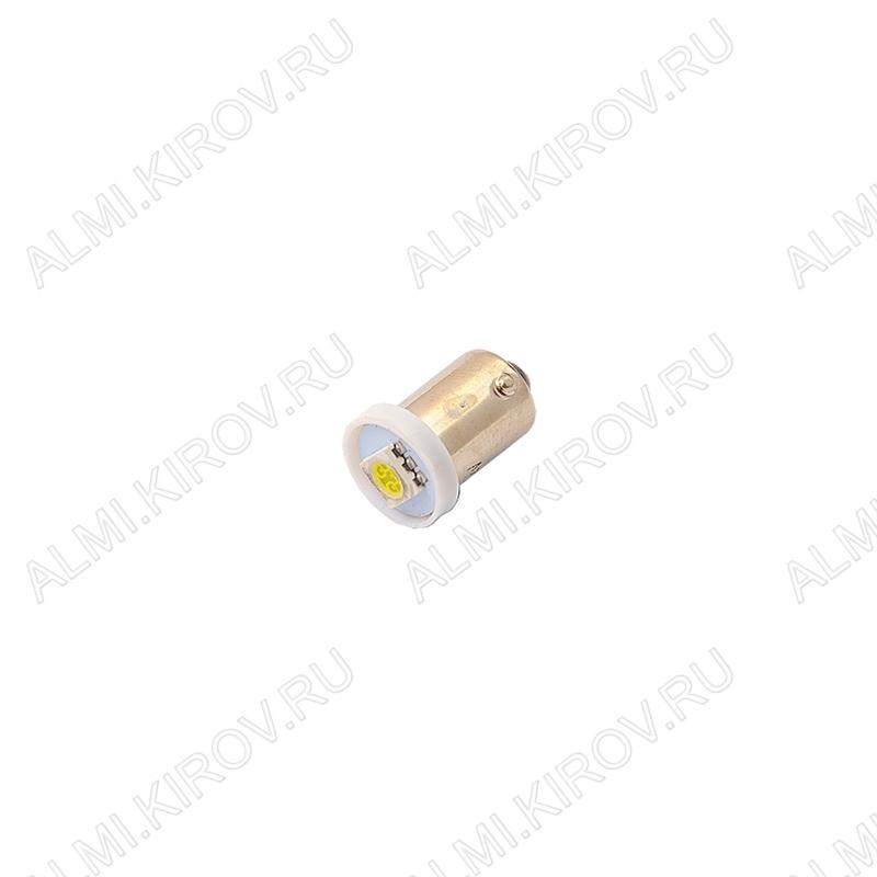 Лампа светодиодная (A9)T8 BA9S 12V (LED107) (цвет белый) автомобильная