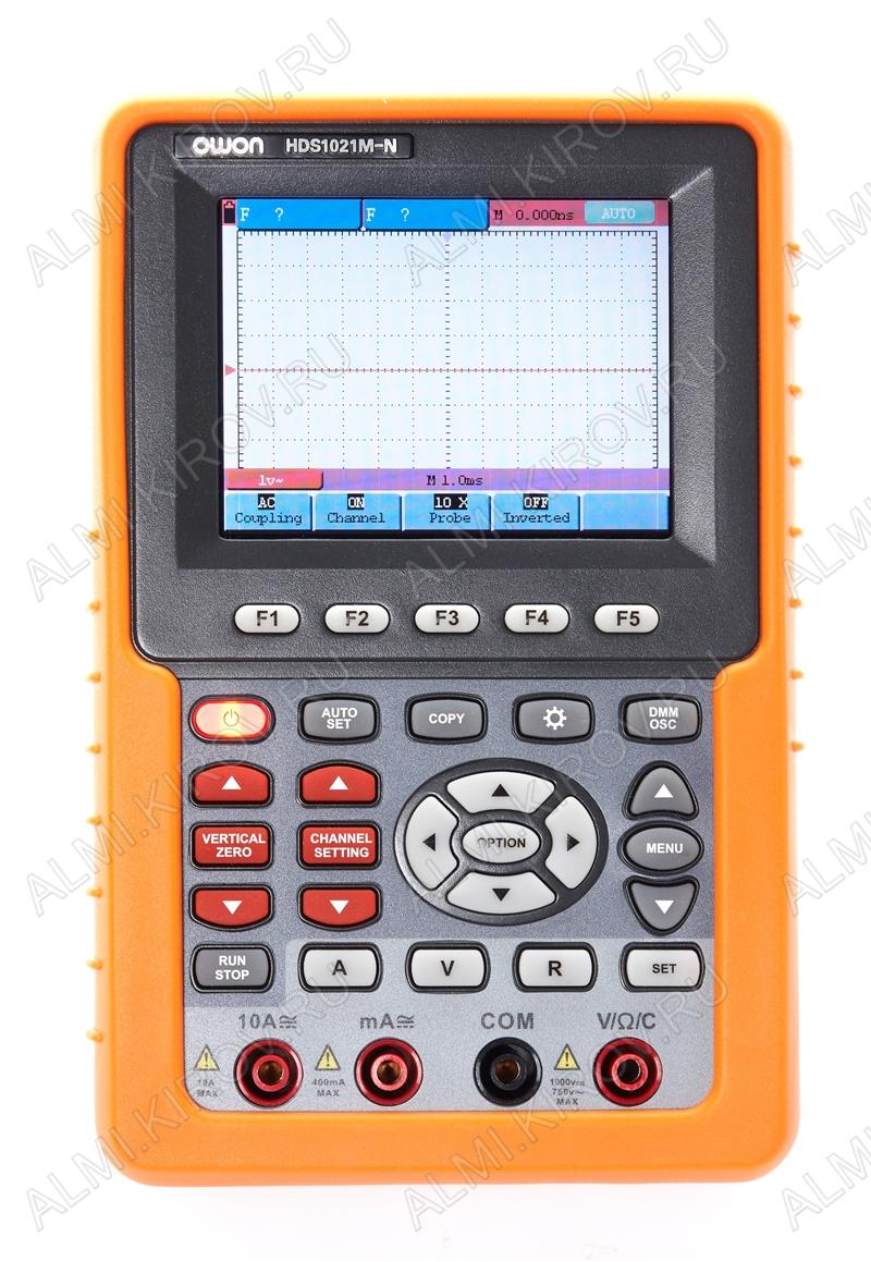 Осциллограф-мультиметр портативный HDS1021M-N аккумуляторный 20MHz, 1-канал, цветной ЖК-дисплей(320х240пикс.)