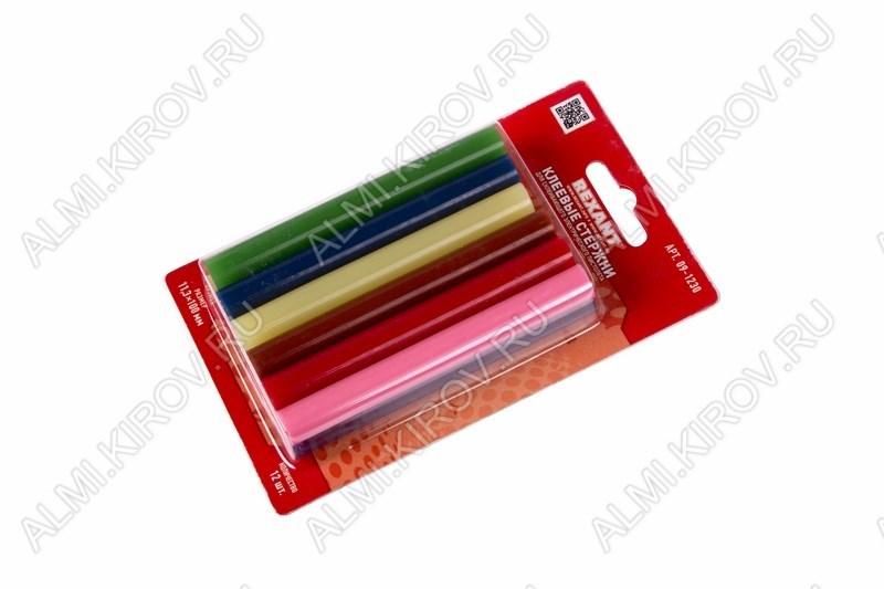 Термоклей d=11мм цветной (набор 12шт) (09-1230)