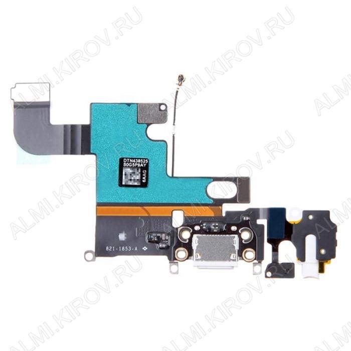 Шлейф для iPhone 6 + на системный разъем + разъем гарнитуры + микрофон  Белый