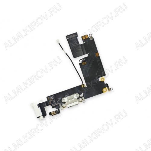 Шлейф для iPhone 6 Plus + разъем зарядки + разъем гарнитуры + микрофон белый