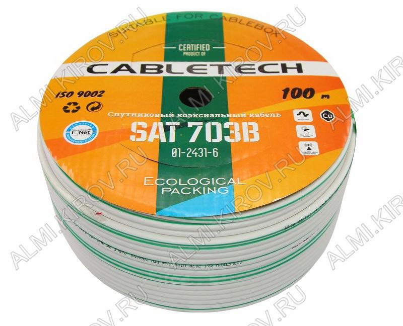 Кабель SAT-703B (01-2431-6) Белый; Cu1*0,9; ALP+Cu64%; PVC6,90