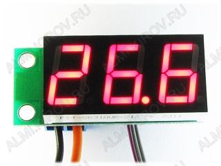 Радиоконструктор Термометр цифровой встраиваемый STH0014UR (красный, с выносным датчиком) Диапазон измеряемых температур -55°C..+125°C ,датчик DS18B20  с кабелем 5м, Напряжение питания (фильтрованное) +7В..+20В (с радиатором до +35В).