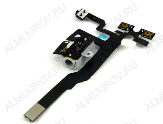 Шлейф для iPhone 4S + разъем гарнитуры + кнопки громкости и MUTE белый