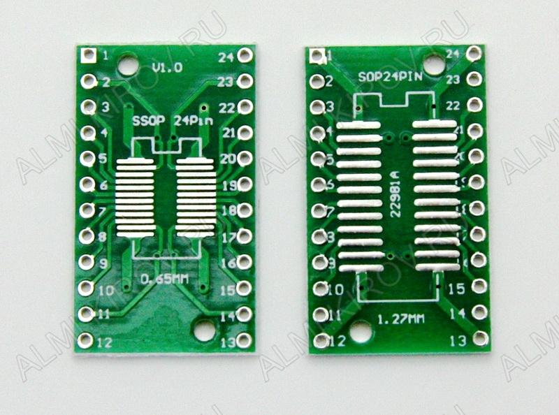 Плата переходная SSOP24 0.65mm/SOP24 1.27mm to DIP