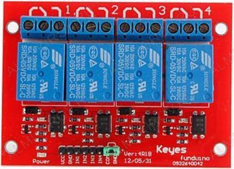 Радиоконструктор Модуль реле 4 канала 5В RA003 с опторазвязкой (коммутация 250В 10А)