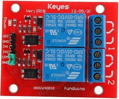 Радиоконструктор Модуль реле 2 канала 12В RA013 (коммутация до 250В 10А) Модуль содержит 2 независимых реле. Каждое реле имеет одну группу контактов на переключение. Модуль имеет оптическую развязку!
