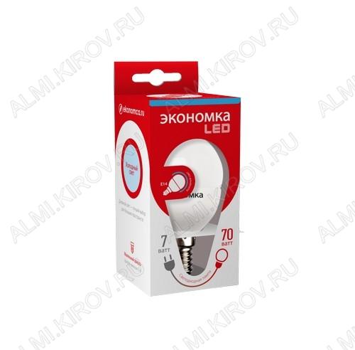 Лампа светодиодная 220В/  7Вт/ E14/ 6500К (холодный белый) (L347)/ 580lm (Eco_LED7wGL45E1465);