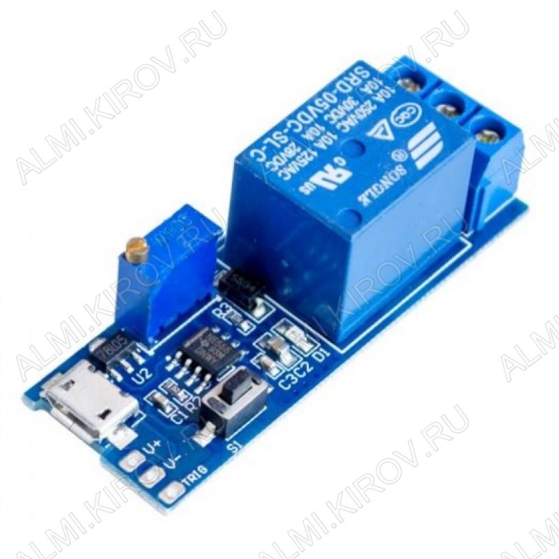 Модуль Реле, 1-канальное 5В с таймером и USB возможно выставление задержки от 0 до 24 секунд./задержка 0с-24с/ ком. напряжение-220В/Максимальная нагрузка: 2200 Вт