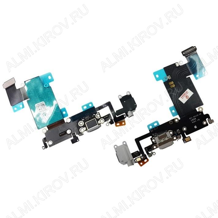 Шлейф для iPhone 6S Plus + разъем зарядки + разъем гарнитуры + микрофон серый