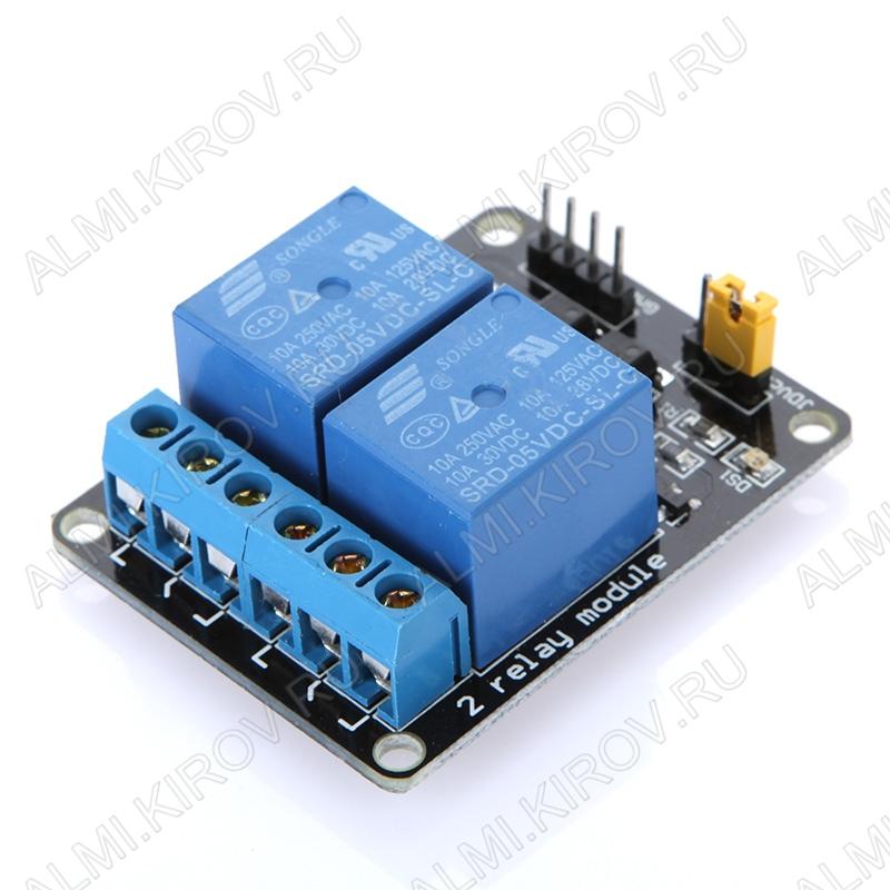 Модуль Реле, 2-канальное 5В  питание от 5V, напряжение до AC 250V 10A, DC 30V 10A, 2 канала