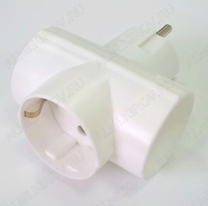 Тройник ТС-3-1з(АП3-3-Т3) с заземлением белый; 16A