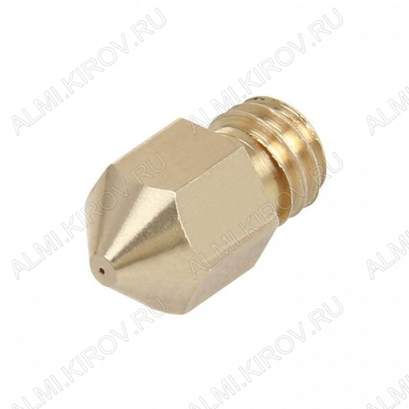 Стандартное сопло 0.5мм для хотэнда MK8, под пластик 1.75мм. Размер: 13х8мм; Внутренний диаметр: 2мм; Диаметр выходного отверстия: 0.5мм; Резьба: М6