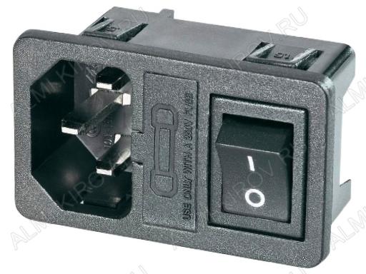 Разъем (4041) AC штекер на корпус с выключателем и предохранителем с защелками 250V; 10A
