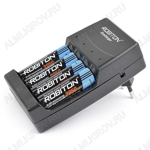 Зарядное устройство ECOCHARGER AK02 (заряжает алкалиновые батарейки!) для 1-4шт элементов питания R03/R6 (100-150mA), для 1-4шт аккумуляторов R03/R6 (350mA); микропроцессорный контроль, защита от перегрева, автом.отключе