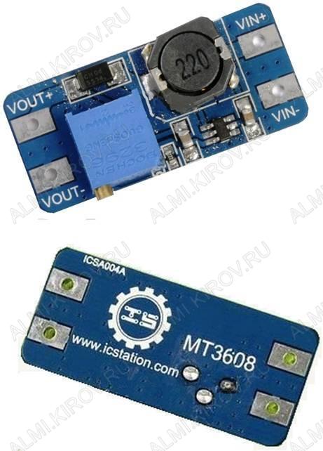 Радиоконструктор Преобразователь DC/DC в 4...28В(2А) из 2...24В (RP039 на MT3608) Повышающий. На микросхеме MT3608