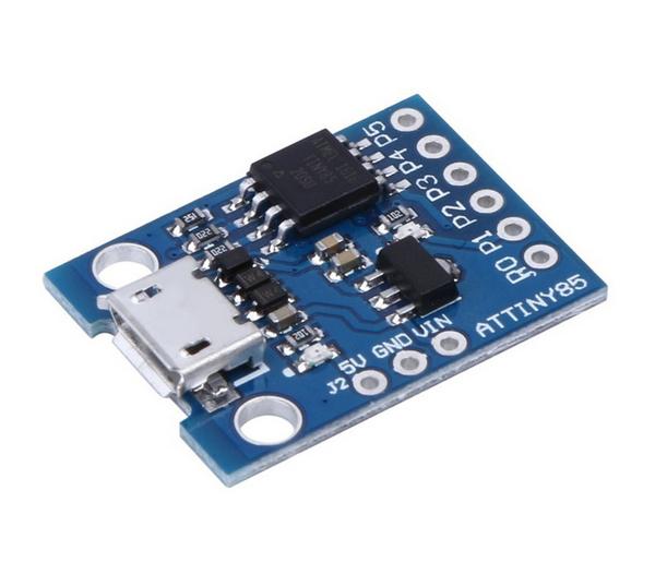 Плата отладочная Digispark Attiny85 (microUSB) ATtiny85, Поддержка Arduino IDE 1.0+ (OSX/Win/Linux); Питание через USB или вневшние источники - 5В или 7-35В