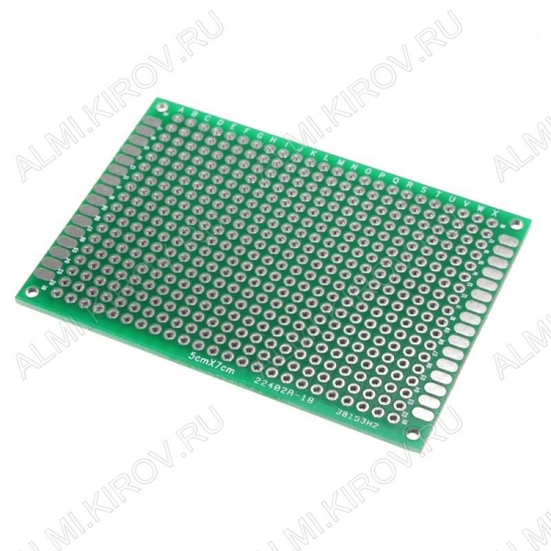 Макетная плата двусторонняя 50*70mm; для DIP-компонентов; шаг 2.54mm