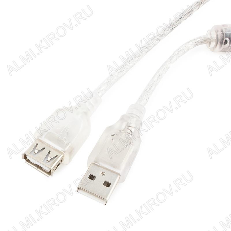 Шнур USB A шт/USB A гн 3.0м (CCF-USB2-AMAF-TR-10) экранированный, прозрачный силикон с ферритовым фильтром