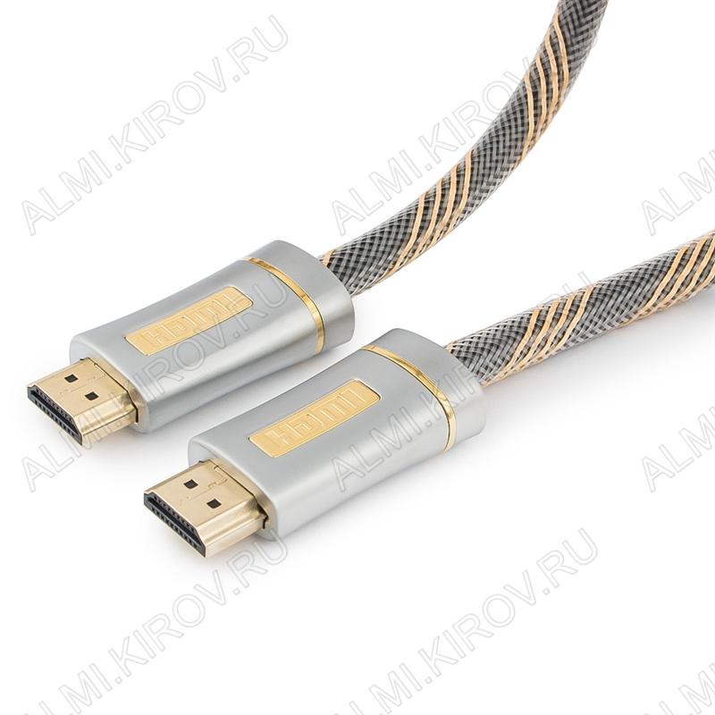 Шнур (CC-P-HDMI02-1M) HDMI шт/HDMI шт 1.0м (ver 2.0) 3D, UHD 4K/60Hz, 18Gbit/s серия Platinum, нейлоновая оплетка, блистер